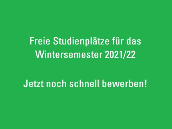 Freie Studienplätze für das Wintersemester 2021/22