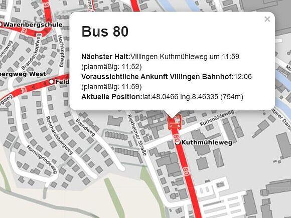 Anzeige über das SMartphone: wann kommt mein Bus?