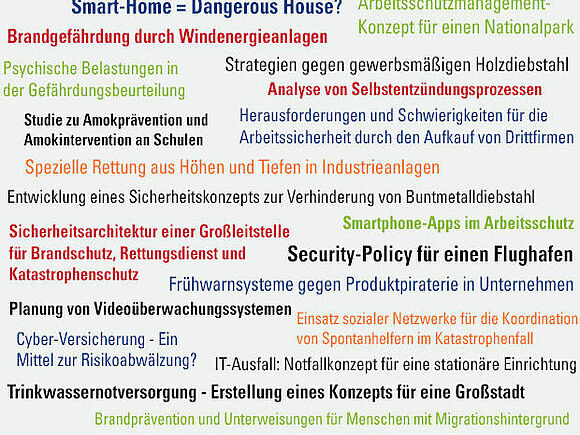 Beispiele für Thesisthemen im Studiengang Security & Safety Engineering