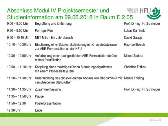 Nachhaltige Bioprozesstechnik - Aktuelles (I17398-1)
