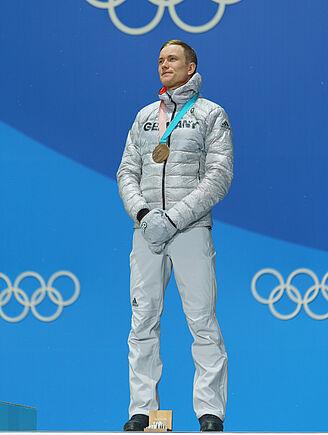 Benedikt Doll: Bronze-Medaille in der Biathlon Verfolgung, Olympische Spiele 2018. Foto: Johannes Kühn.