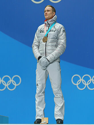 Bronze medal Benedikt Doll, Biathlon pursuit, 2018 Olympic Games. Photo: A. Kühn