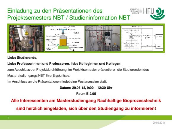 Nachhaltige Bioprozesstechnik - Aktuelles (I17397-1)