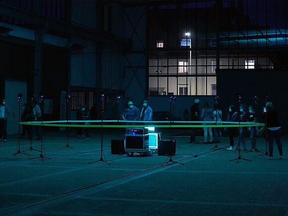 Halle Beethoven bei Nacht